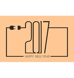 2017 Happy New Year Flat Style Background with vector image