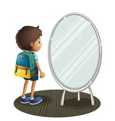 A boy facing the mirror vector