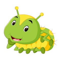 A green caterpillar cartoon vector