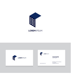 abstract real estate logo design on business card vector image
