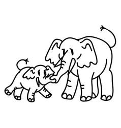 Adorable cartoon elephant mother and calf line vector