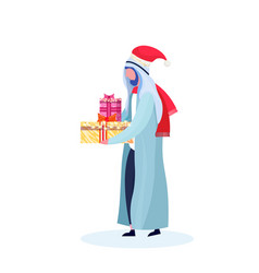 arab man traditional clothes holding gift box vector image