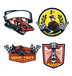 Badge set of formula racing car vector