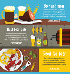 beer pub food banner horizontal set flat style vector image