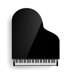 black grand piano icon with shadow vector image