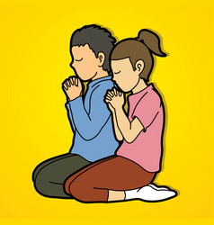 boy and girl pray together prayer christian vector image