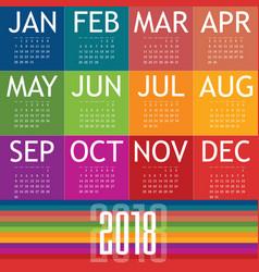 calendar of 2018 vector image