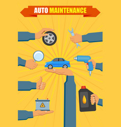 Car service poster with hand holding tools vector