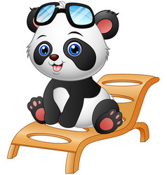 cartoon panda bear sitting on deck chair isolated vector image