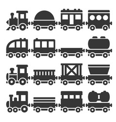 Cartoon style toy railroad train set vector