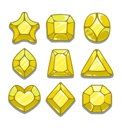 Cartoon yellow different shapes gems vector