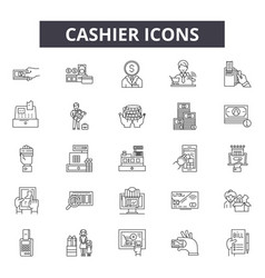 cashier line icons signs set outline vector image