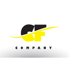 Cf c f black and yellow letter logo with swoosh vector