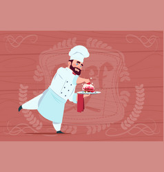 chef cook holding dessert dish smiling cartoon vector image vector image