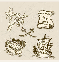 collection of hand-drawn pirates design elements vector image