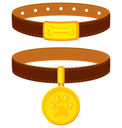 Colorful cartoon pet collar set vector