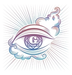 Colorful spiritual eye design vector