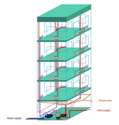 communications of a multistory apartment building vector image
