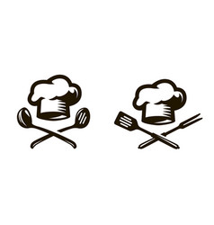 Cook chef logo or icon labels for the menu vector