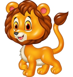 Cute baby lion walking isolated vector image