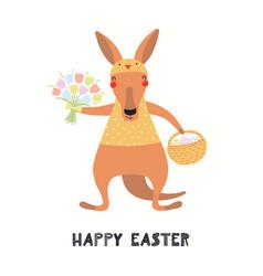Cute kangaroo easter card vector