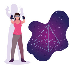 Design woman using technology augmented vector