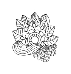 Doodle art flowers entangle floral pattern vector