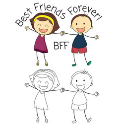 Doodle boy and girl best friends vector