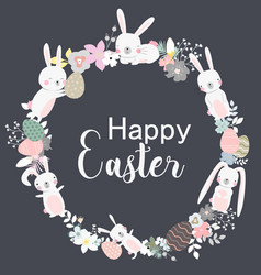 easter wreath with flowers vector image