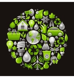 Ecological set with green concept icons in circle vector