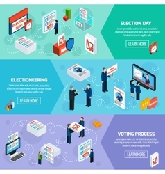 Elections and voting isometric banners vector