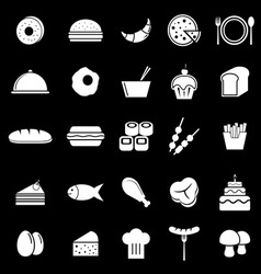 Food icons on black background vector image
