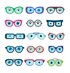 glasses with eyes cartoon eyeglass frame or vector image