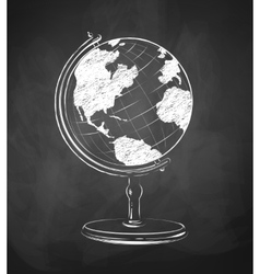 Globe drawn on chalkboard vector image