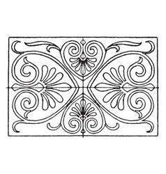 Greek oblong panel has a strict palmette vector