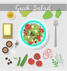 greek salad with fresh vegetables food ingredient vector image