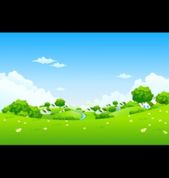 Green landscape with houses vector