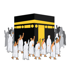 Group of hajj pilgrimage walking around kabaa vector
