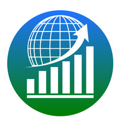 growing graph with earth white icon in vector image