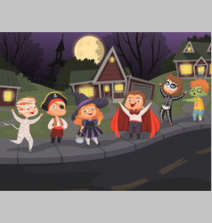 halloween city kids costumes night horror scary vector image