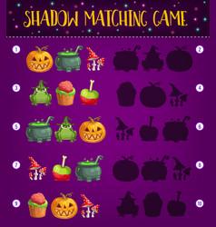 Halloween shadow matching kid game template vector