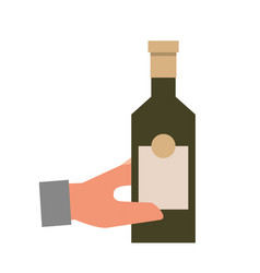 hand holding bottle liquor isolated design vector image