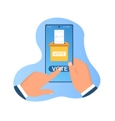 Hands holding smartphone with voting app on screen vector