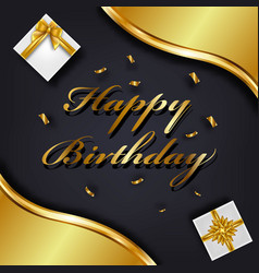 Happy birthday greeting card template luxury gift vector