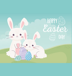 happy easter day rabbits and decorative eggs vector image