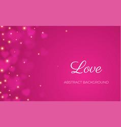 Heart bokeh pink background valentine love vector