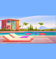 House and swimming pool with deck chairs vector