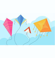 kites in sky fun fly kite child toy flying wind vector image