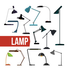 lamp set table desk office modern lamps vector image