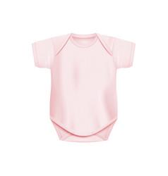 Light pink newborn baby onesie - realistic vector